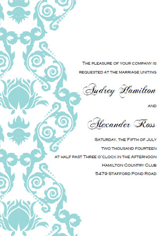 Printable wedding invitation templates break out the blue bubbly printable aqua damask invitations stopboris Choice Image