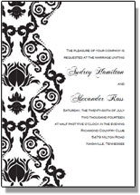 Printable Black And White Damask Wedding Invitations Free Birthday Templates