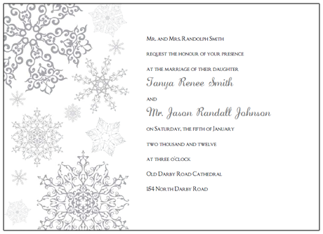 Printable Snowflake Wedding Invitations - Wedding invitation templates: winter wedding invitation templates free