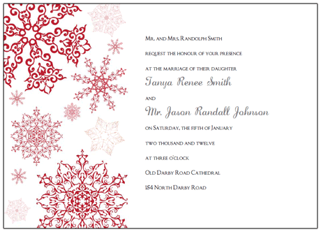 printable red snowflake wedding invitations