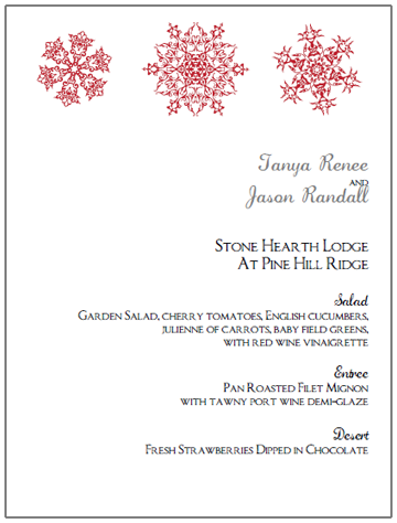 red snowflake wedding menu