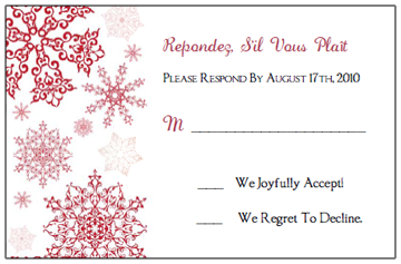 red snowflake rsvp response card