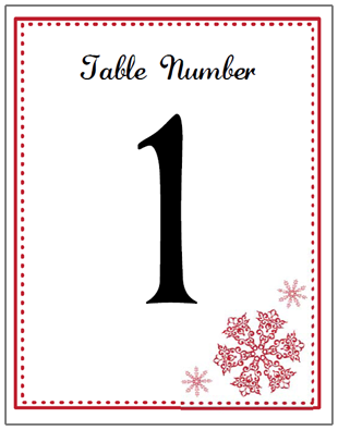 red snowflake table number