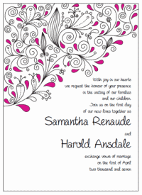 pink and black paisley wedding invitations