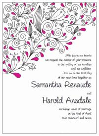 pink and black paisley wedding invitations
