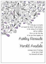 purple and black paisley wedding invitations