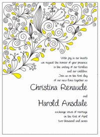 yellow and black paisley wedding invitations