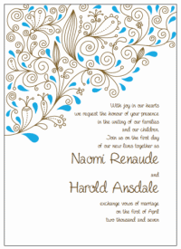 brown and blue paisley wedding invitations