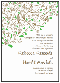brown and green paisley wedding invitations