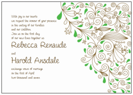 brown and green paisley wedding invitations