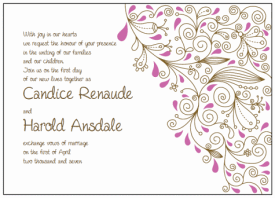 brown and pink paisley wedding invitations