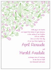 pink and green paisley wedding invitations