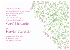 pink and green paisley wedding invitations