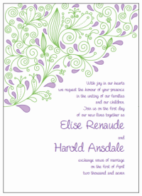 purple and green paisley wedding invitations