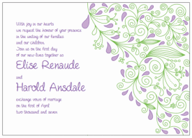 purple and green paisley wedding invitations