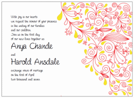 red and yellow paisley wedding invitations