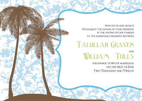 Printable Wedding Invitations Kit Talullah Palm Tree Island