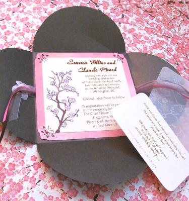 asian cherry blossom invitations