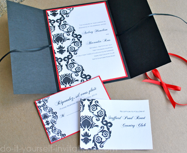 Elegant BlackRed and White Wedding Invitation