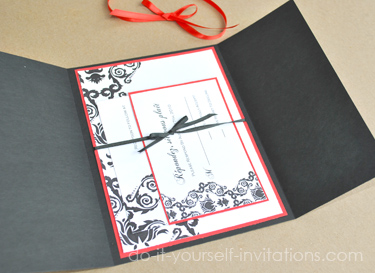 Elegant blackred and white wedding invitation printable damask wedding invitations solutioingenieria Image collections