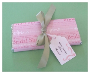 Materials needed to make bridal shower invitation candy bars :