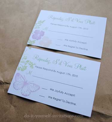 Diy butterfly wedding invitations for Do it yourself wedding invitations templates