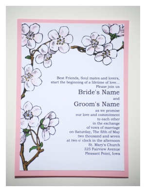 cherry blossom wedding invitation template, Wedding invitations