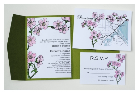 Lovely Cherry Blossom Wedding Invitations