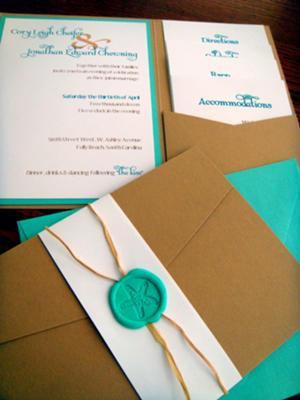 beach wedding invitations pocketfold