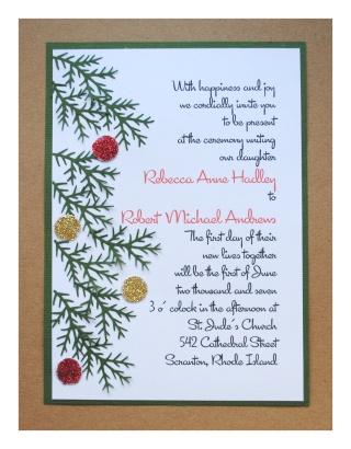 Diy christmas wedding invitations christmas wedding invitations solutioingenieria Image collections