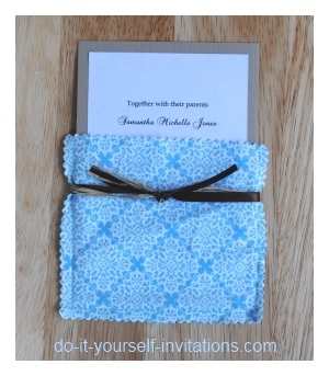 DIY cloth pocket wedding invitations