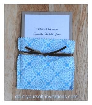 DIY cloth pocket wedding invitations