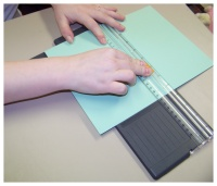 cutting cardstock to make baby shower invitations