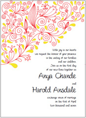 asian red and yellow wedding invitations