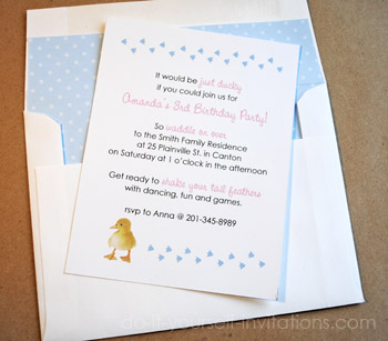 duckie birthday invitations