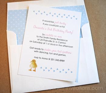 Make duckie birthday invitations duckie birthday invitations solutioingenieria Images