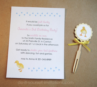 Make duckie birthday invitations diy duckie bithday party solutioingenieria Choice Image