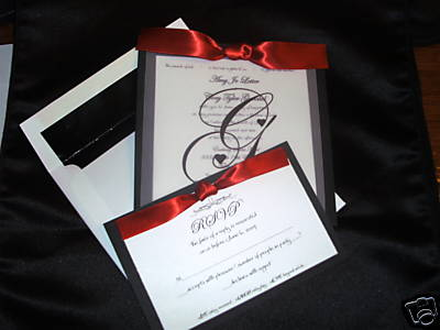 Black And White Wedding Invitations Templates. Elegant Black,Red and White