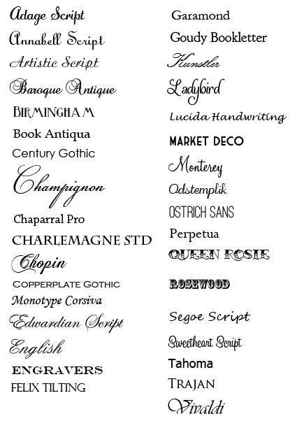wedding invitation fonts