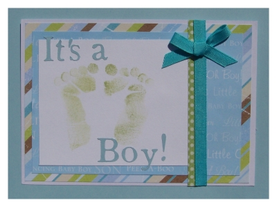 footprint baby shower invitations postcard