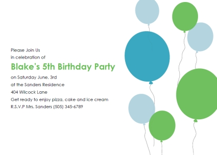 Free Printable Kids Birthday Party Invitations Templates – Free Birthday Invitation Templates for Word
