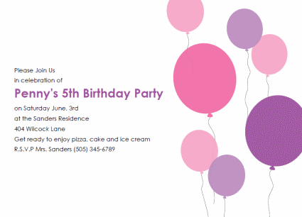 Free Printable Kids Birthday Party Invitations Templates – Free Birthday Template Invitations