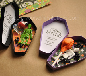 Free Printable Halloween Invitations: Unique Coffin Invites With ...