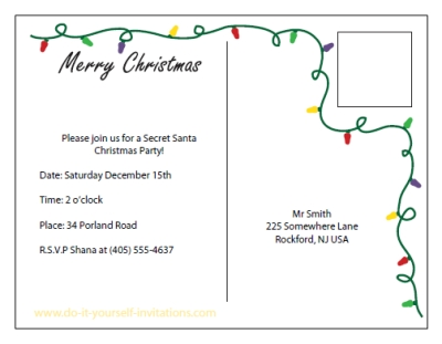 image relating to Free Printable Christmas Party Flyer Templates identify Printable Xmas Invitation Postcards