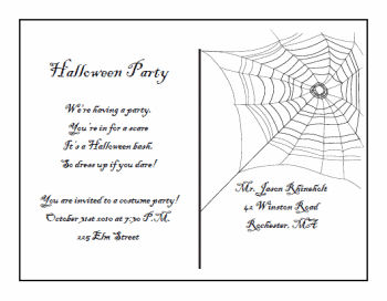 printable Halloween Postcard Invitations