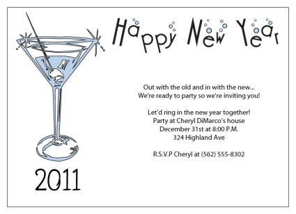 Printable new years party invitations for New year invite templates free