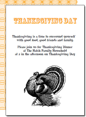 Free Printable Thanksgiving Dinner Invitations