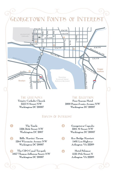 custom wedding invitation map