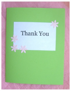 simple handmade thank you card