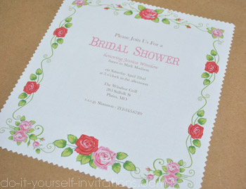 bridal shower handkerchief invitations